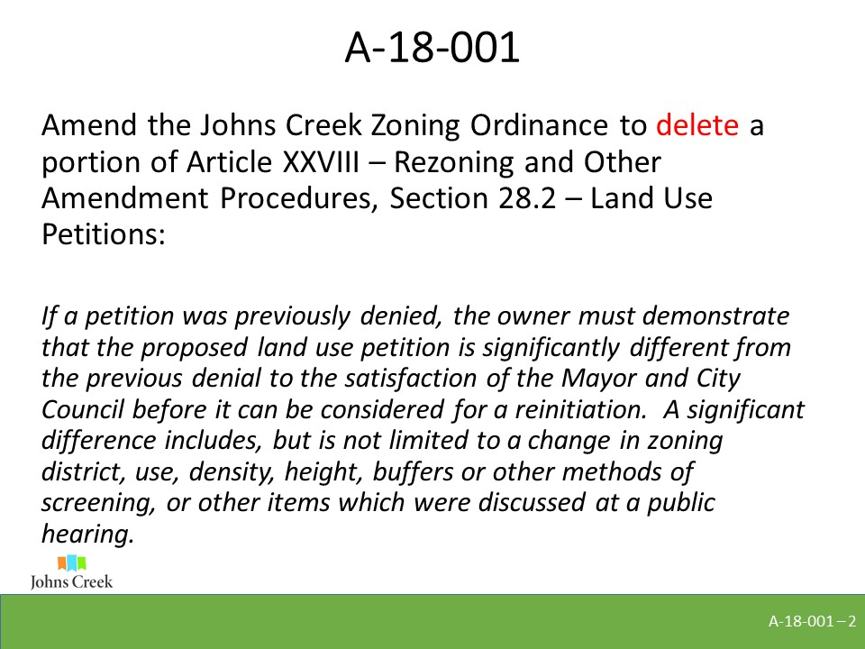 The text amendment proposes to delete the language in Article XXVIII Section 28.2