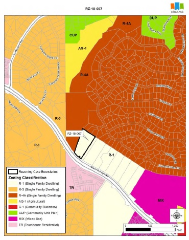 RZ-18-007 and nearly adjacent properties labeled R-1 represent the proposed development land