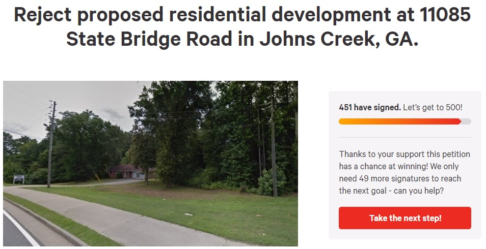 Petition to reject proposed residential development at 11085 State Bridge Road  has been supported by over 450 signatories as of 2:30 PM October 1, 2018.