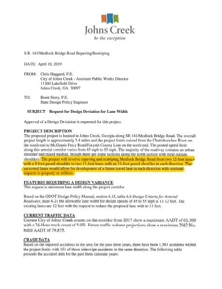 Public Works memo regarding Medlock Bridge Road lane width reduction