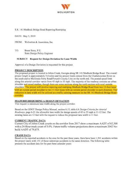 Wolverton memo regarding Medlock Bridge Road lane width reduction