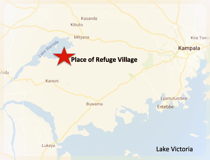 - Our village land is located about 45 miles west of Kampala on Lake Wamala with access to the nearby Mityana township.