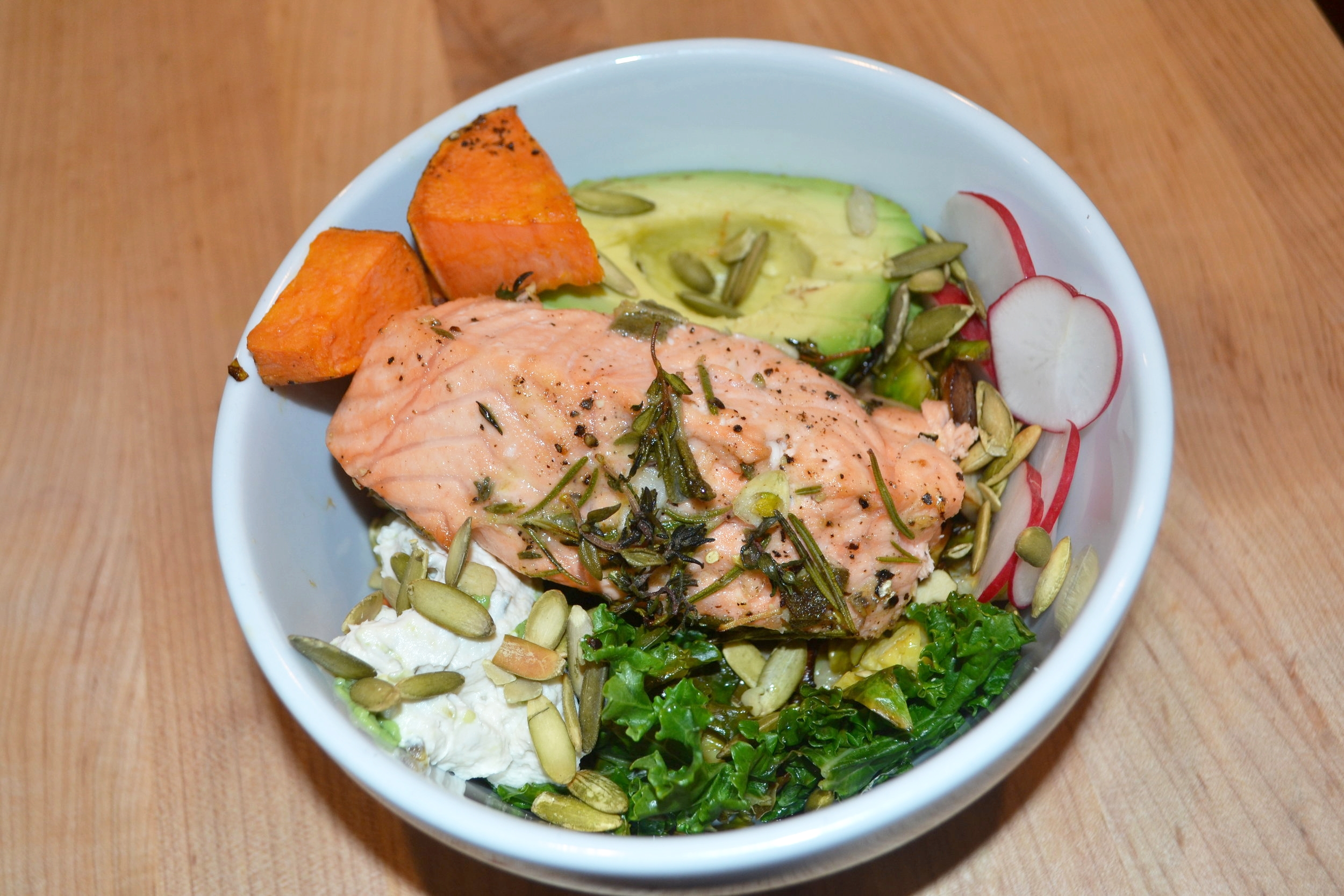 Wild caught salmon is an excellent source of vitamin B12, anti-inflammatory omega-3 fatty acids, protein, hormonal balancing enzymes, heart healthy vitamins, and bone building vitamins.