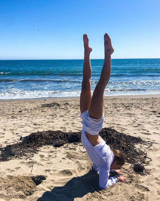 Usually I tell people to breathe when they practice intense poses🤸‍♀️But, when you're next to a pile of dried seaweed, I recommend you close your mouth & hold your breath🦀 • There is something very special about practicing yoga on the sand🏝very special✨ 📸: @erin_kettmann