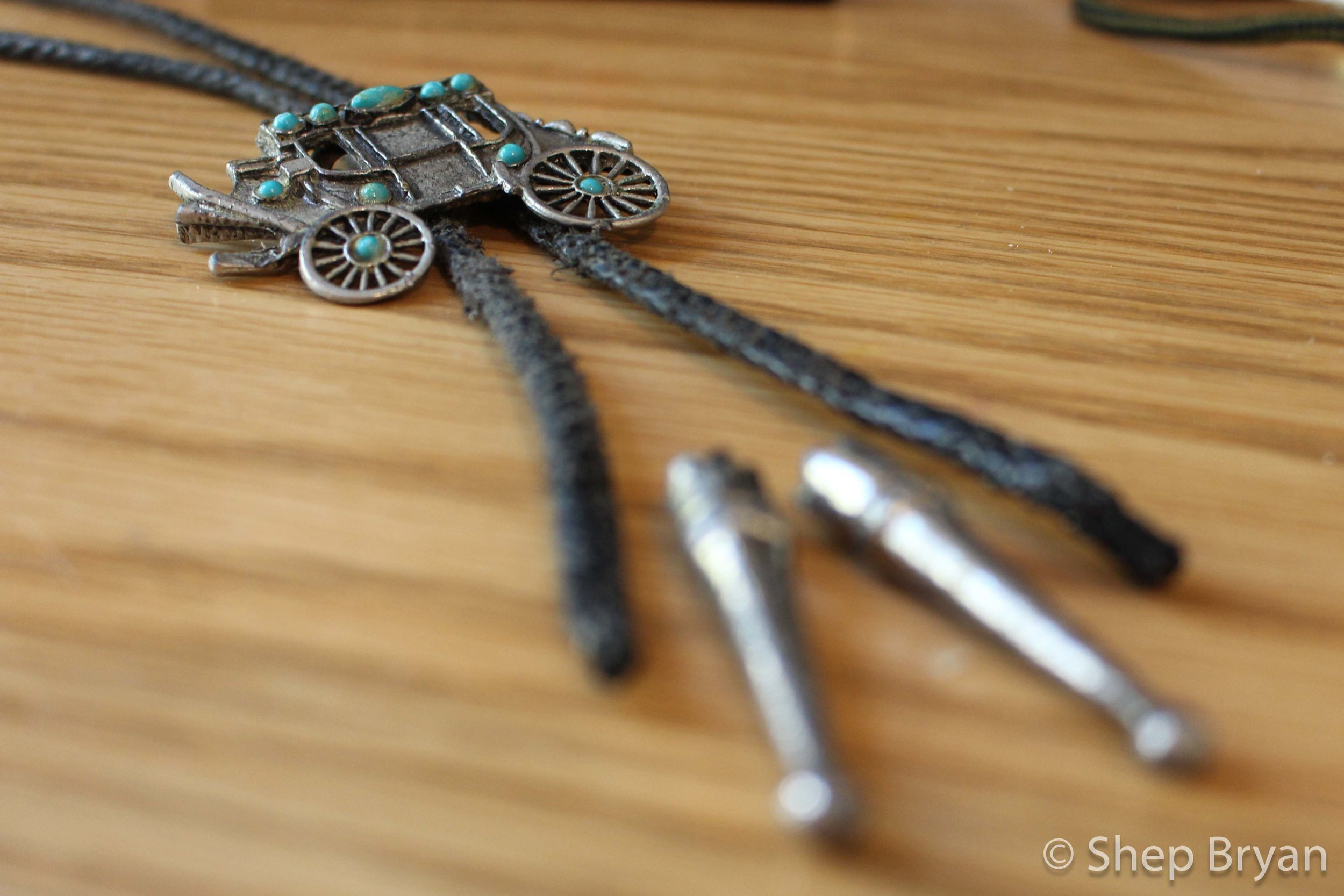 The vintage silver medallion & fraying vinyl cord.