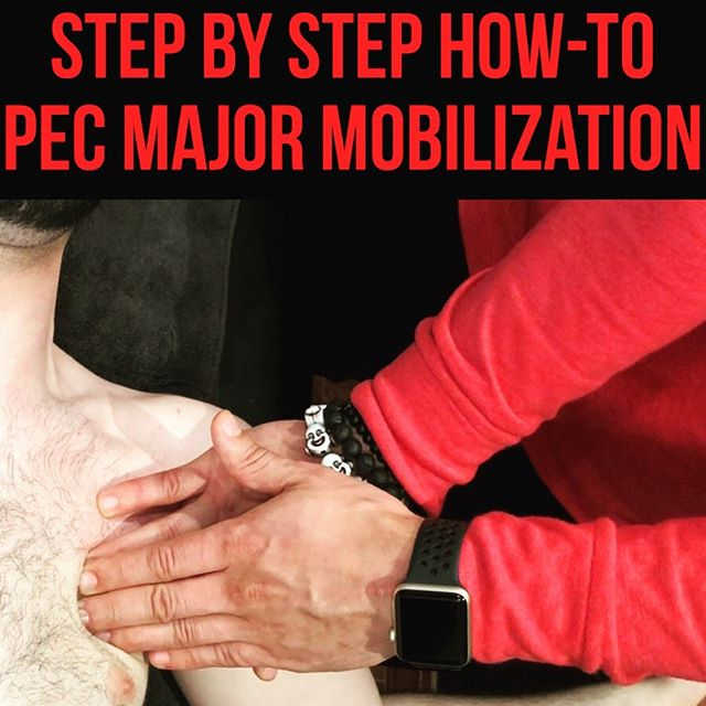 (STM of) Pec Major Release❗️ • • • Without order, a STM is just a massage. Without order, steps will be skipped and potential gains will be missed. For the world of soft tissue mobilizations- order is everything. I don't just go onto a pec area and start aimlessly rubbing (similar to those theraguns people are in love with these days). Instead, I look at each body part like a puzzle piece that requires adequate time and attention to be figured out. • • • For this pec release, it's more of the same. You have to be strategic and specific if you desire to see specific outcomes. I utilize breathing because it provides an innate internal vessel of mobility, why not take advantage of that. I use active range of motion during the release to really pinpoint how the tissue is moving in functional positions. Lastly, I use Neuromuscular Re-Education to strengthen his muscle-mind connection: what does it feel like to STABILIZE at this new end range, while possessing this newfound tissue extensibility. Because it will feel different. You have to have your clients experience that, with you, under challenging, yet appropriate resistance. • • • Video 1: Assessment of Pec Major STM Video 2: Performance of Pec Major STM, using facilitatory respiration Video 3: Performance of Muscle-Tracing of Pec Major Video 4: Performance of Pec Major STM, using  Overhead Flexion/ER ROM  Video 5: Neuromuscular Re-Education post- Pec Major STM