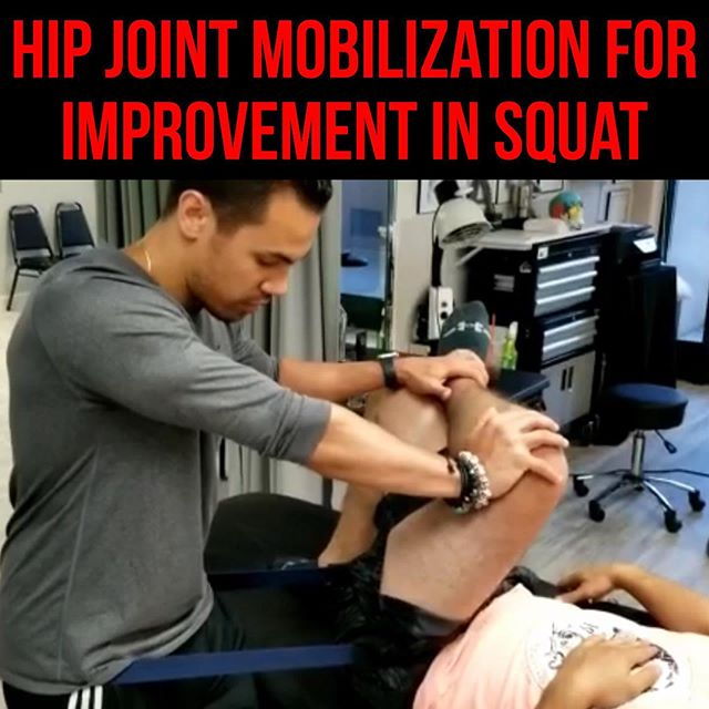 Hip Joint Mobilization for improvement in Squat❗️ • • • Here is a quick Hip mob you can do to improve your squat mechanics. • • • Many times, The reason why people have knee, lower back, even ankle pain when squatting is secondary to immobility at the hip joint. Lack of mobility here, will force other joints into compromising positions- in an attempt to to take up the slack during the squat movement pattern. In particular, the inferior-lateral glide of the hip is often stiff and restricted. This forces people to squat very wide (sumo squat), driving more of the weight through lower back and knees. However, If we restore the inferior-lateral glide at the hip joint: we can restore alignment to our squat, and say bye bye to that nasty knee pain. ENJOY✌🏽