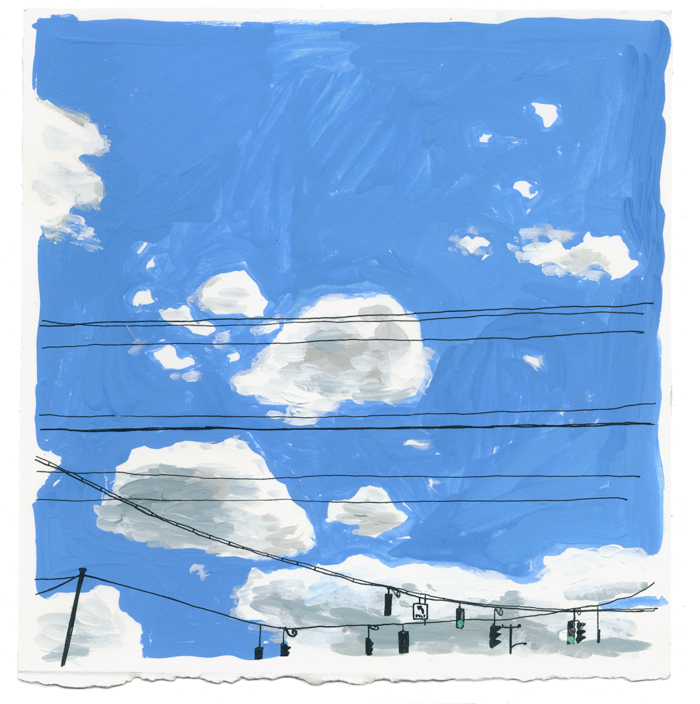 Drawn on August 13, 2017, at precisely 12:00 pm Eastern Standard Time, along the highway in upstate New York as part of Women Who Draw's   One Sky   project.