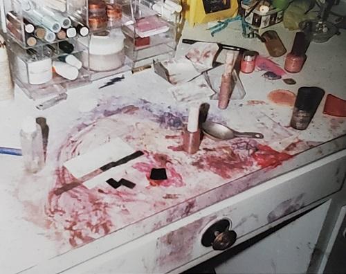 Really epic makeup mess, mixed media by Iana, age 4