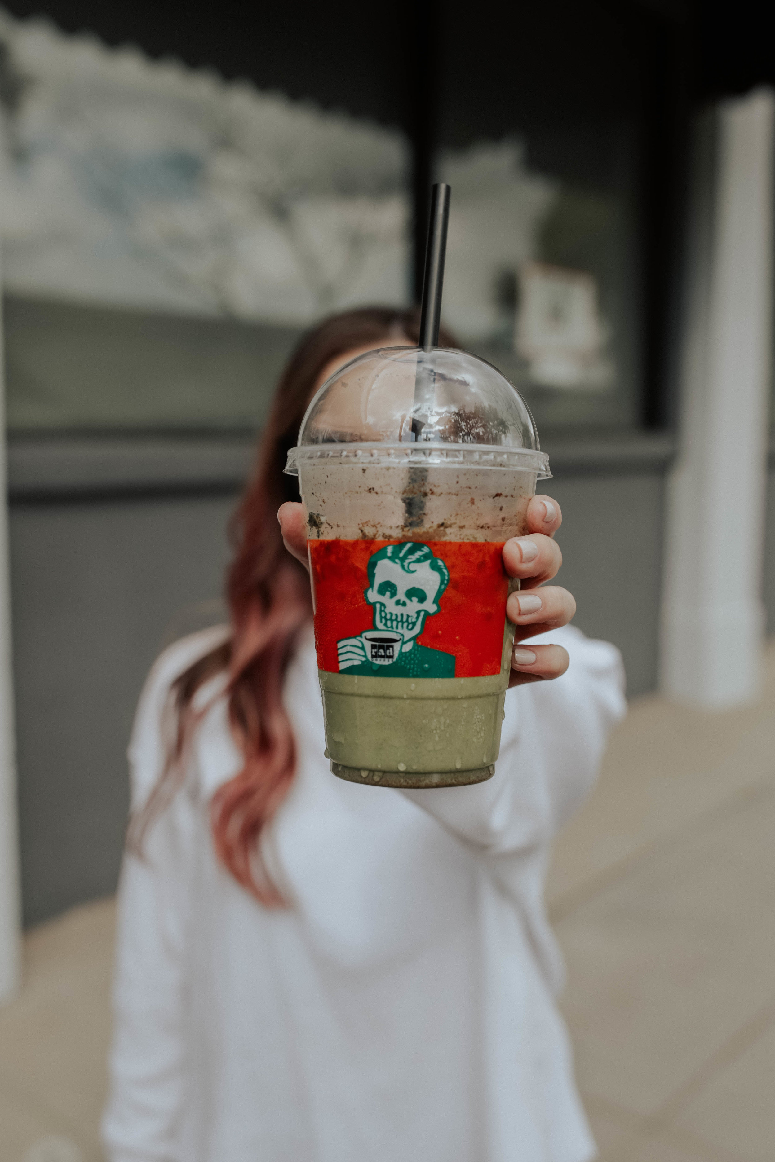 """rad coffee - is a coffee shop in upland that caught my eye a loongggg time ago. i'll spare you the details for why i was in upland since it was really short-lived (and i never lived there) but this coffee shop is. so. popular. it's because of their little monster shakes and the punk theme.. which you know i can 100% get behind.to be honest they're the kind of thing you get because they look cool but after 2 sips you're like.. """"where's my water?"""" because they're so sweet and neon and sugary.so i can't brag about them too much but if you are ever in upland here is a fun thing you can do :) x"""
