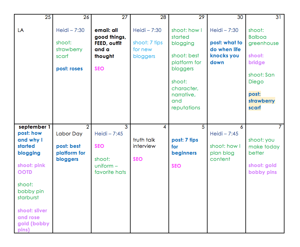 - black: birthdays/ holidays, travel dates, general infobold blue: post goes livegreen: shootbold purple: bonus/ bank shootbold black: emailed newsletterpink: classes, information i am learning - i set aside blocks of time for this whenever i cani add as many colors as i need, and make use of the highlight feature for details, like adding light yellow over bold blue to symbolize that a HAIR post is going live. if this sounds overwhelming or ridiculous.. please know that it is WAY easier than it looks. it has taken me longer to write this post than to create the entire system! wild.