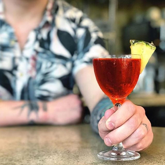 The Bolivian Shadow Boxer, a cocktail from Bartender Jake Kenny of The Royal DC: cinnamon infused Rujero Singani, pineapple, Campari, blanc vermouth, Branca Meta. By Rujero Singani, Instagram, @rujerosingani