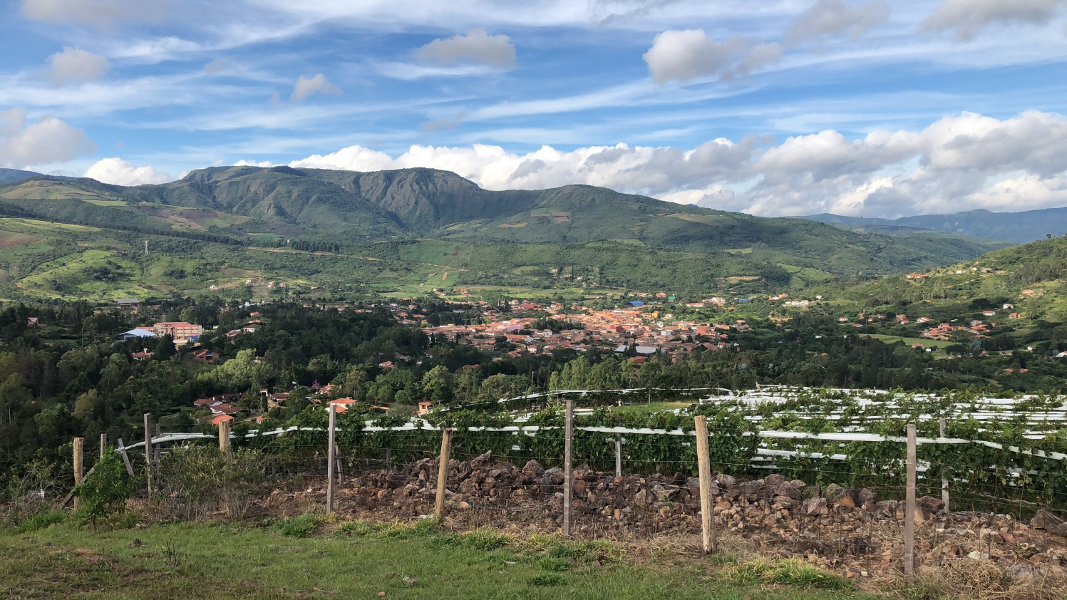A view of the town of Samaipata from Bodega Uvairenda, a producer of elegant Bolivian Torrontés