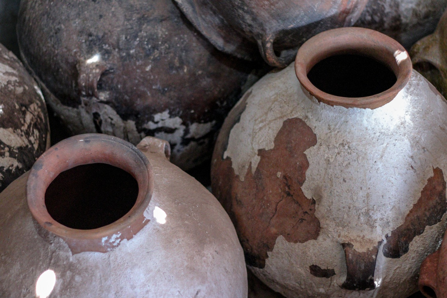 Traditional Clay Pots (Amphora) in the Cinti Valley, Bolivia awaiting reconditioning.