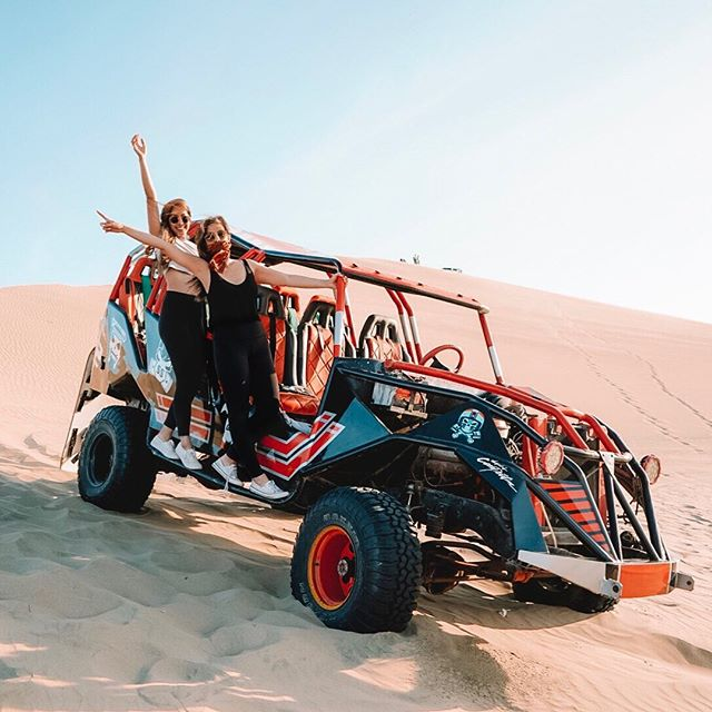 Escaped gloomy Lima for our first dune buggy experience in the sunny desert oasis. It was totally worth it! Thanks so much @visitsouthamerica.co for putting this amazing adventure together. It was nice not having to plan it out ourselves for once ☺️🌵 • • • • #desert #peru #huacachina #desertlife #sand #dunes #sandunes #offroad #dunebuggy #bodyboarding #sandboarding #buggy #visitsouthamericaco #southamerica #adventures #sandadventure #travel #girlswhotravel #girlswhoadventure #sisters #blog #travelblog #blogger #adventureblog #perutravel #travelholic