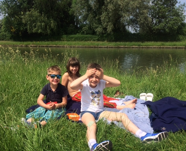 A sunny picnic by the river mid bike ride - one of those rare and lovely occasions where the whole family's needs overlapped!