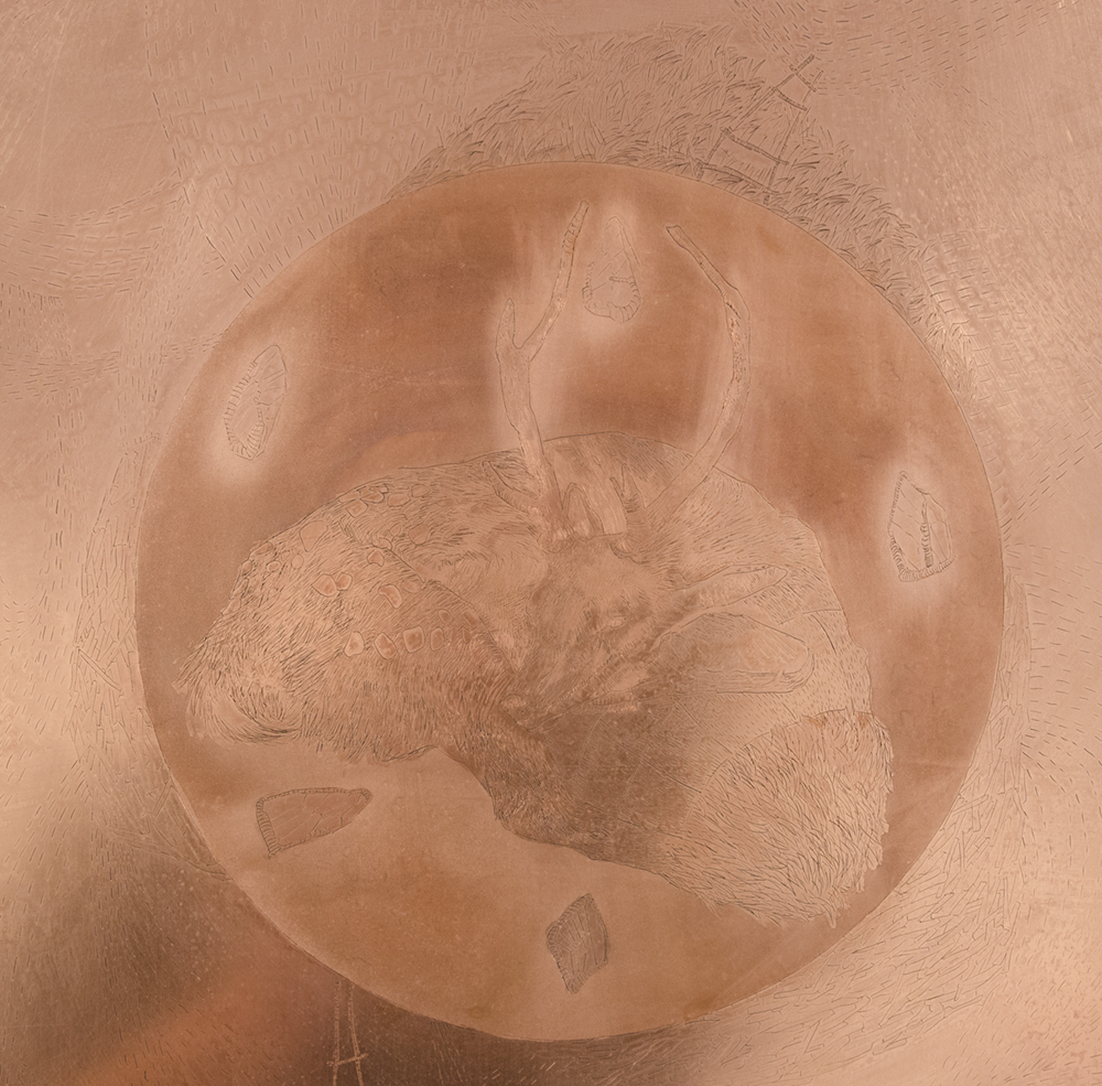 Etched copper plate detail