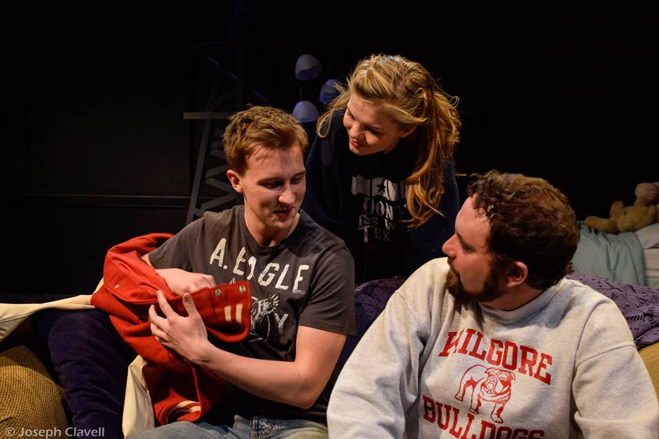 Featuring Sam Straley as Logan (Left), Raven Whitley as Mykelti, and Greg Wenz as Todd (right)