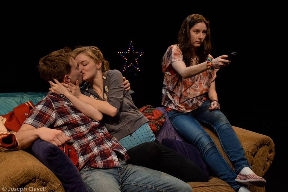 Featuring Sam Straley as Logan (Left), Raven Whitley as Mykelti, and Gail Tierney as Clara (right)