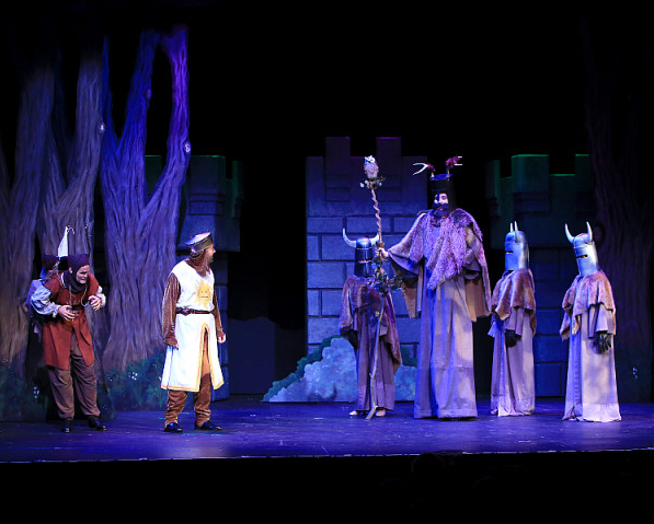 Featuring Kent Fieldsend as King Arthur (left) and Mark Maddy as Knight of Ni (right)and company