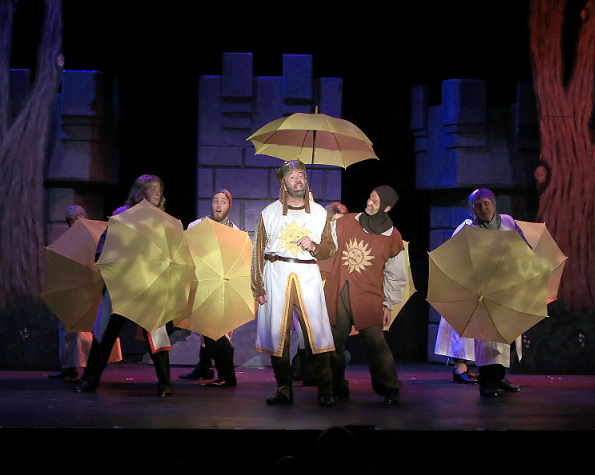 Featuring Kent Fieldsend as King Arthur (left) and Brett Spahr as Patsy (right)and company