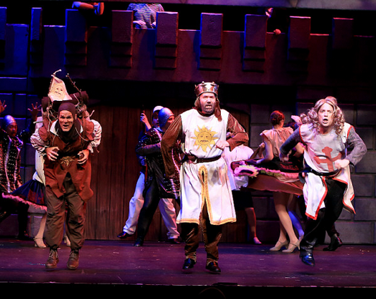 Featuring Brett Spahr as Patsy (left), Kent Fieldsend as King Arthur (middle), and Charlie Reese as Sir Galahad (right)