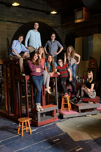 Founding Adolescent Anarchy members: top (left to right): Connor Bredbeck, Sam Bates-Norum, Travis Reinders; Middle (left to right): Elsa Klein, Meredith Toebben, Claire Guderjahn, Tommy Anderson, Madison Delk; Front (seated): Halen Becker