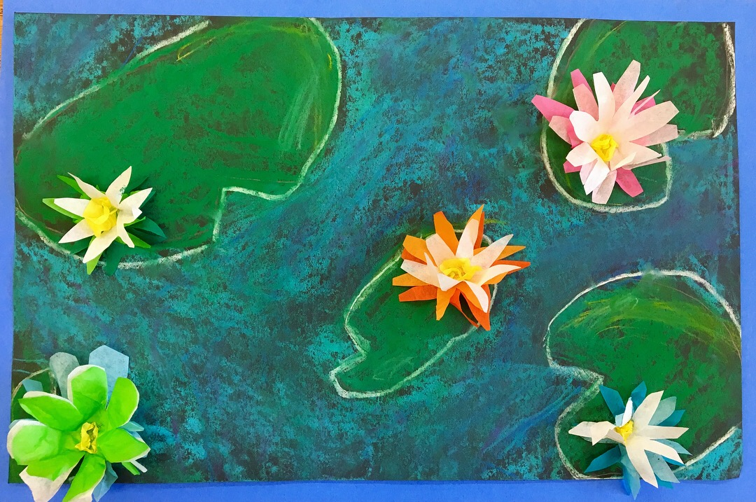 Monet's Water Lilies with Chalk Pastel and Tissue Paper, Fourth Grade