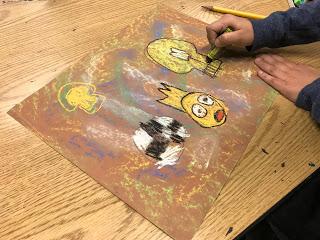 Jean-Michel Basquiat inspired work, third grade