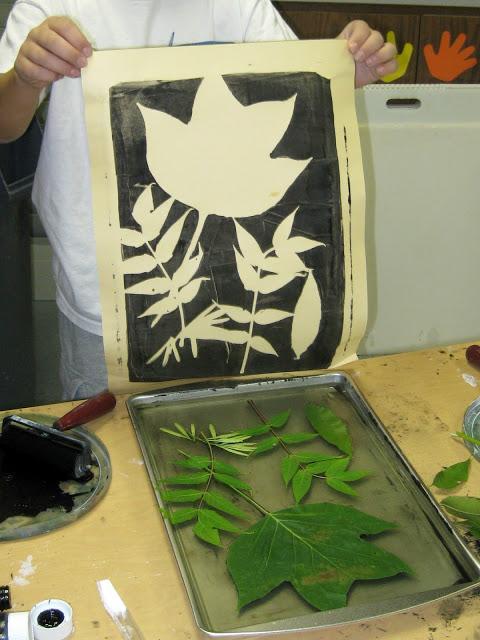 Gelatin Leaf Prints, Second Grade