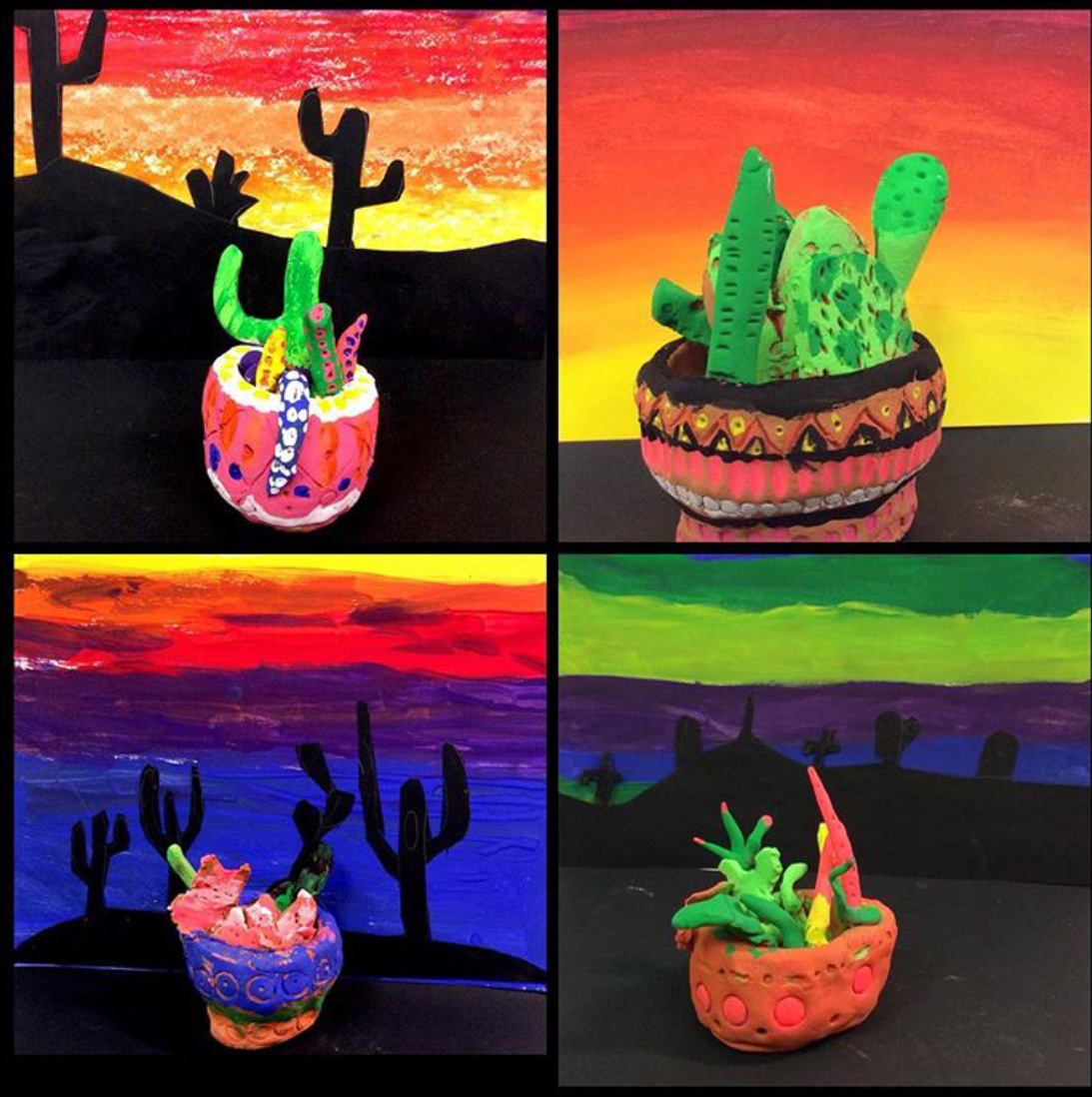 Clay cactus pots with desert silhouettes, fourth grade