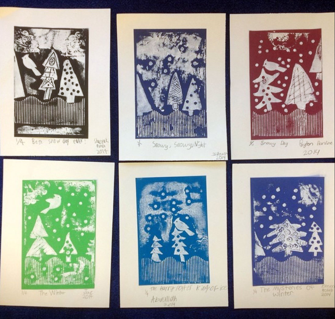 Winter trees collagraph print, third grade