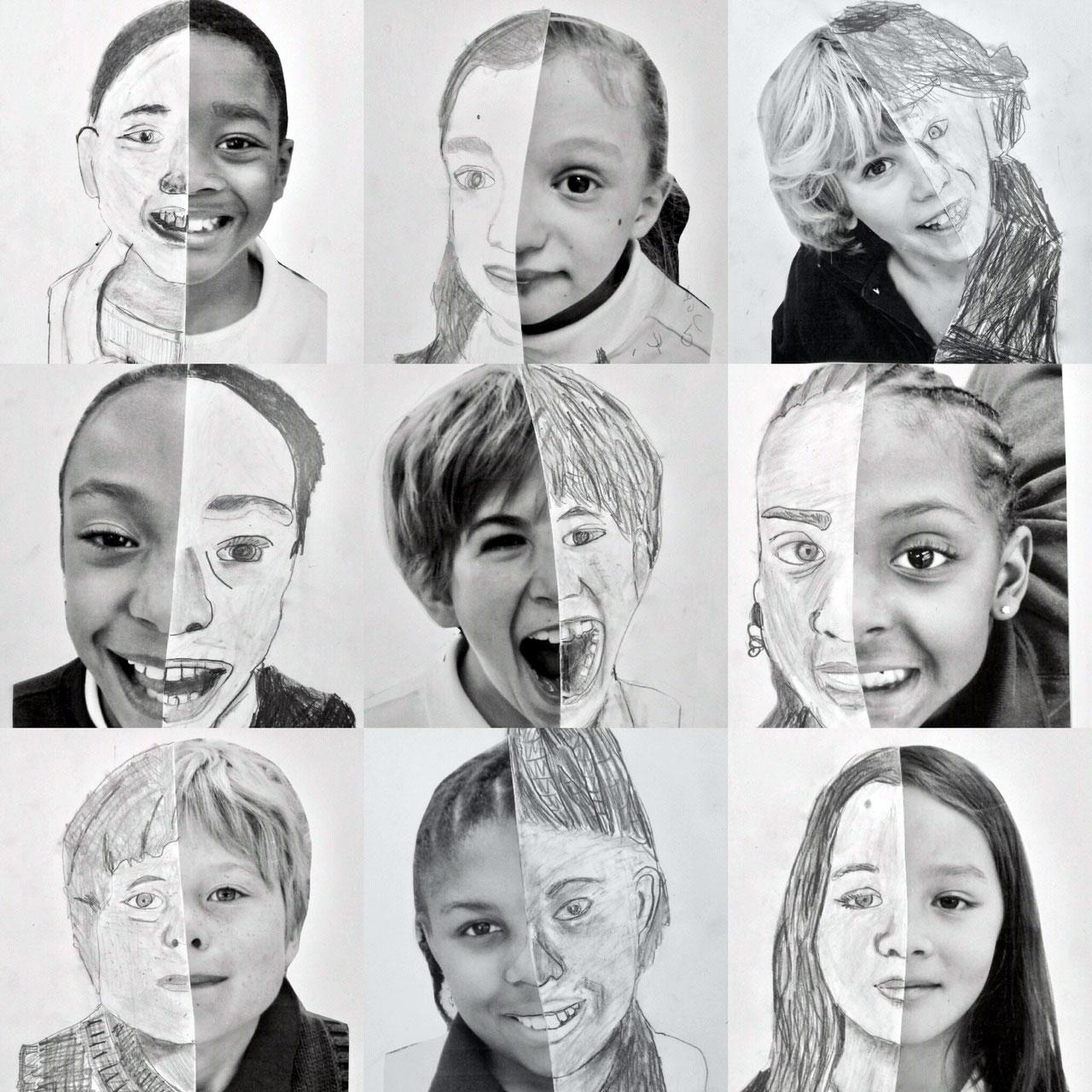 Split Face Portraits, 3rd Grade