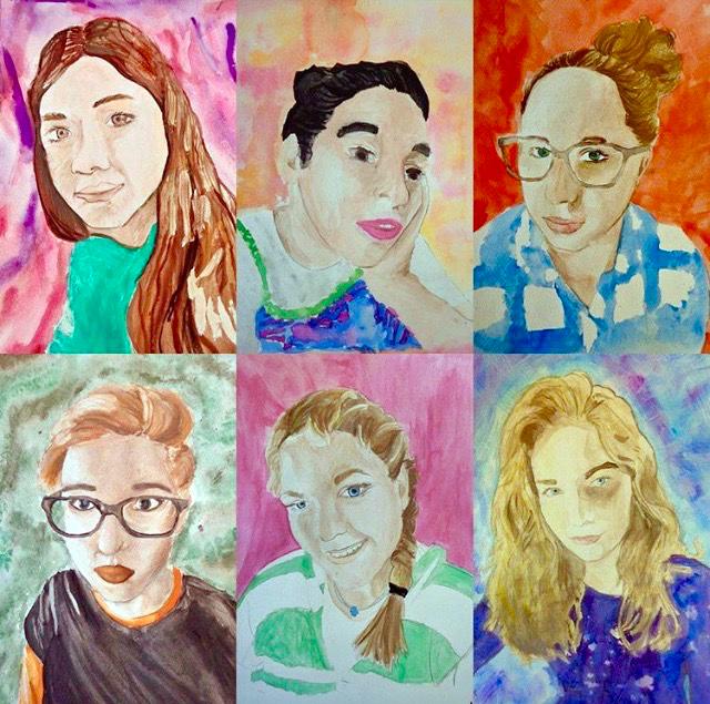 Watercolor Self Portraits, Middle School