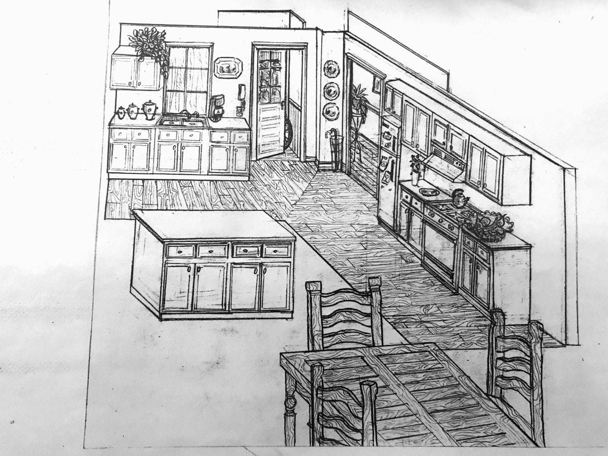 TV Commercial Set Drawing for Pillsbury, Emily Gould