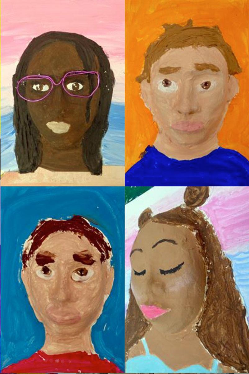 Sculptural Self Portraits, 5th grade