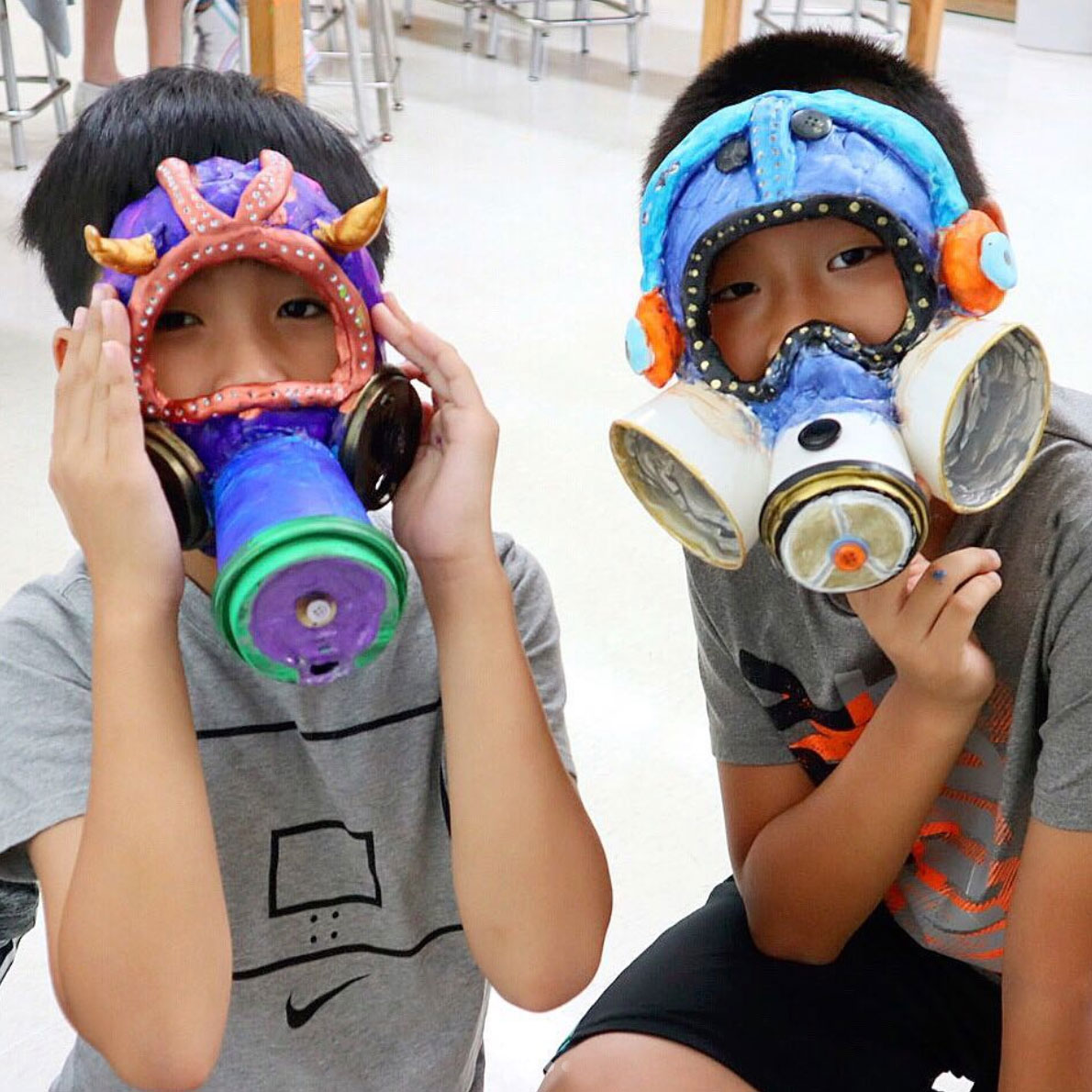Fifth grade gas mask, air pollution awareness project.
