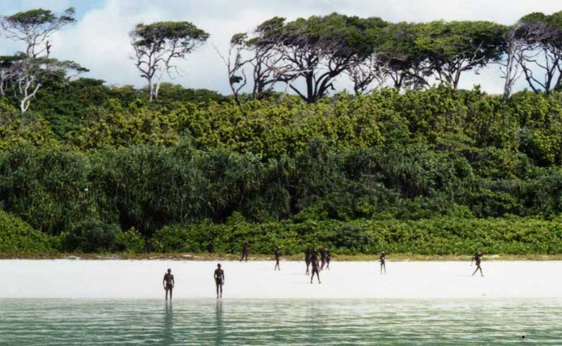 THE SENTINELESE KEEPING WATCH OVER NORTH SENTINEL ISLAND