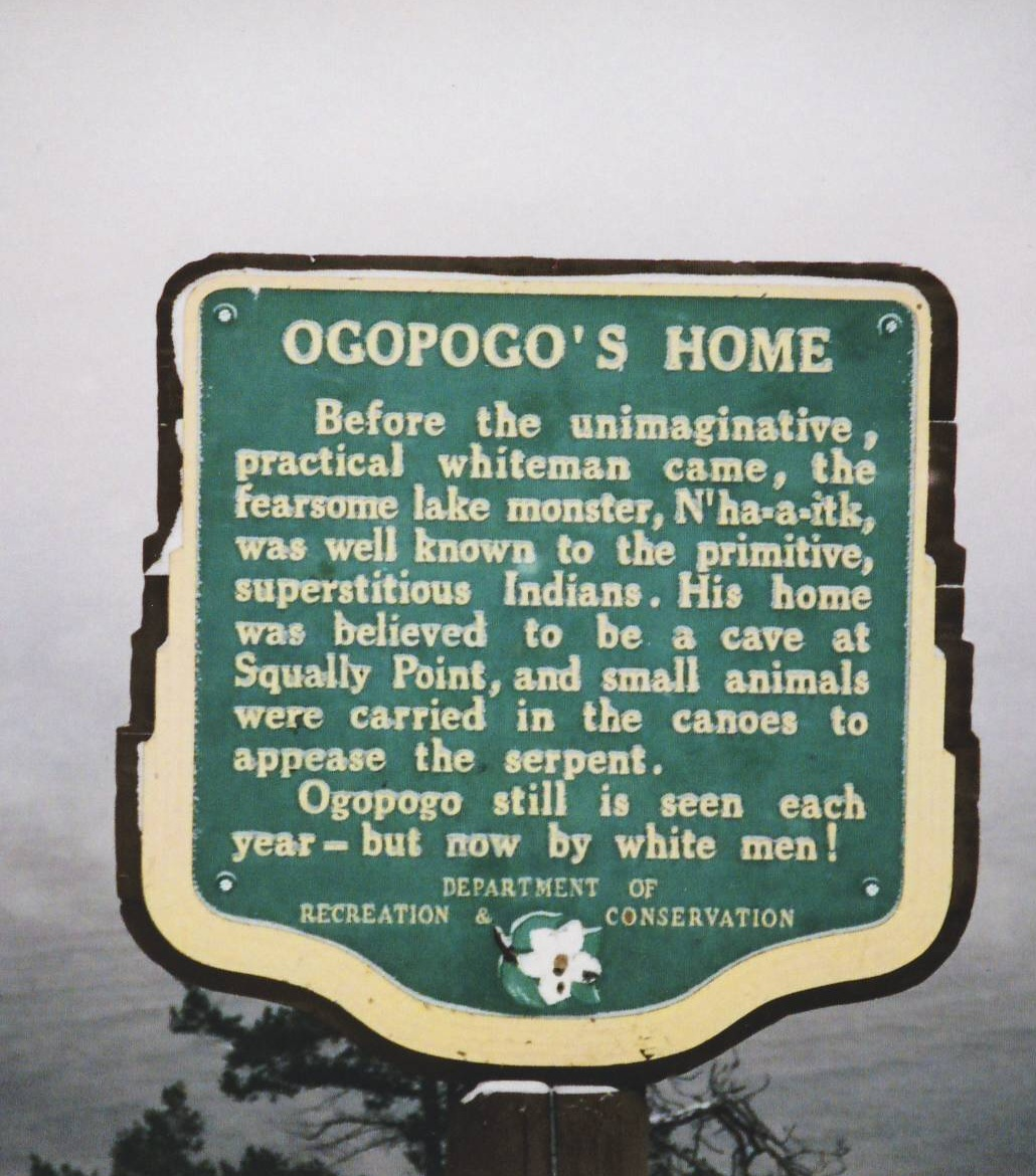 LOCAL INFORMATION SIGN ON OGOPOGO