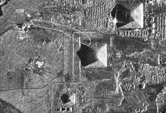 Terra SarX Satellite image shows the entrance to the Tomb of the Birds, and tunnels leading toward the NW corner of the Second Pyramid