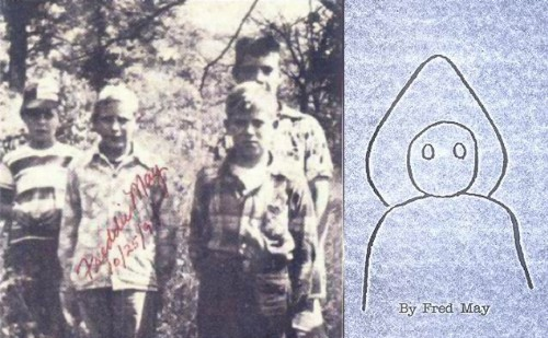 Freddy May and friends, with original sketch from May