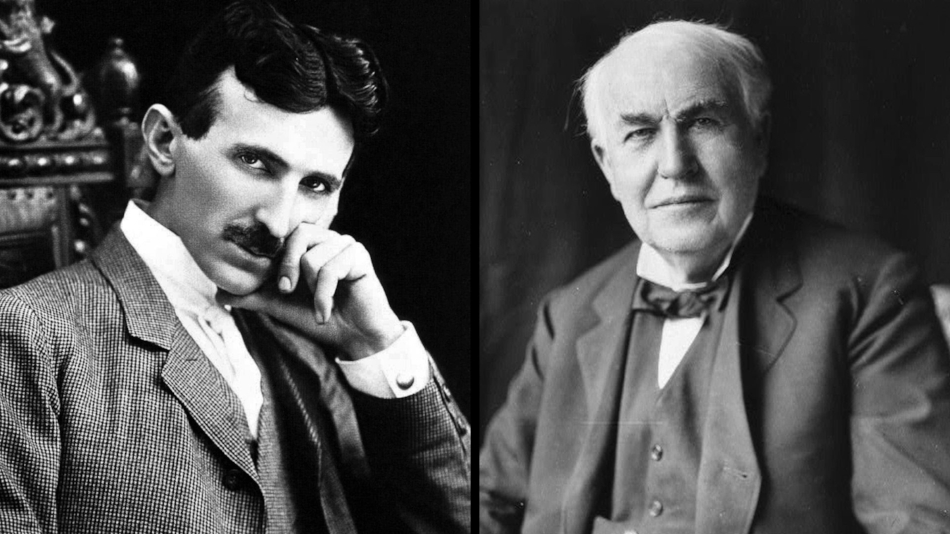 Nikola Tesla and one of his mortal enemies, Thomas Edison (date unknown)
