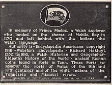 Plaque at Fort Morgan showing where the Daughters of the American Revolution supposed that Madoc had landed in 1170CE