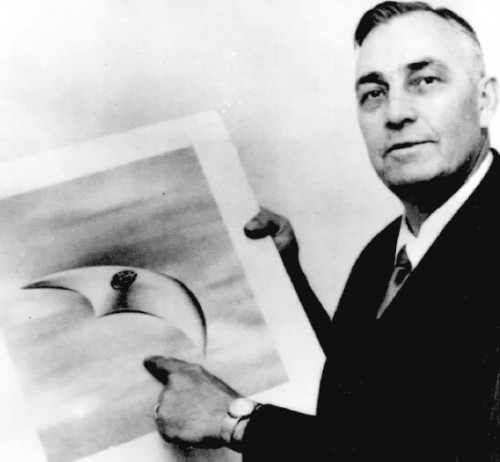 Kenneth Arnold Pictured with the UFO he sighted in the Mount Rainier area