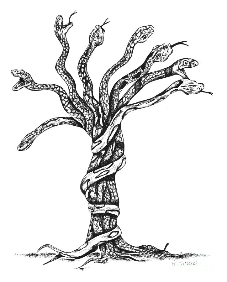 Artist depiction of a literal 'Snake Tree'