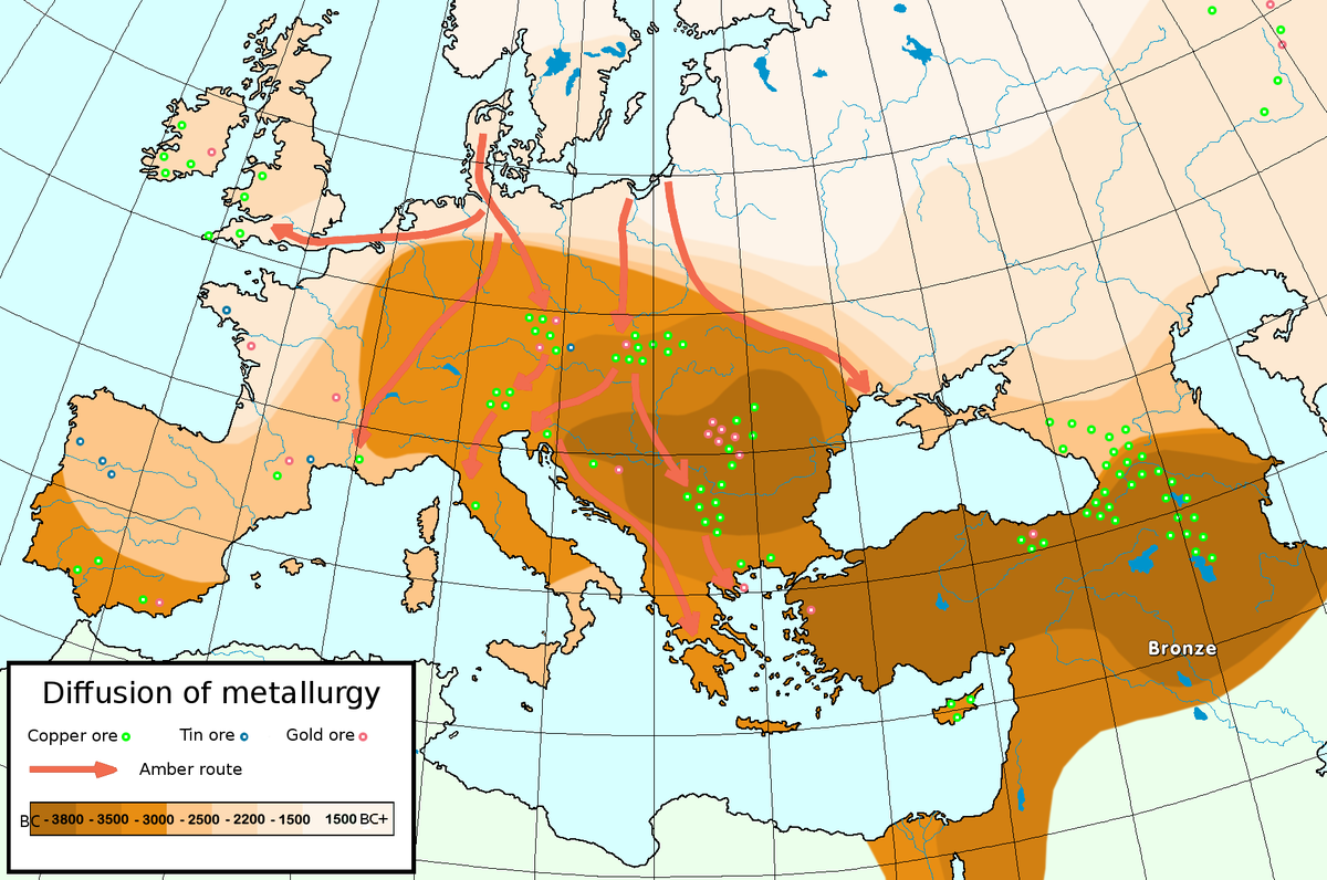 Mineral deposits Circa Bronze Age Era