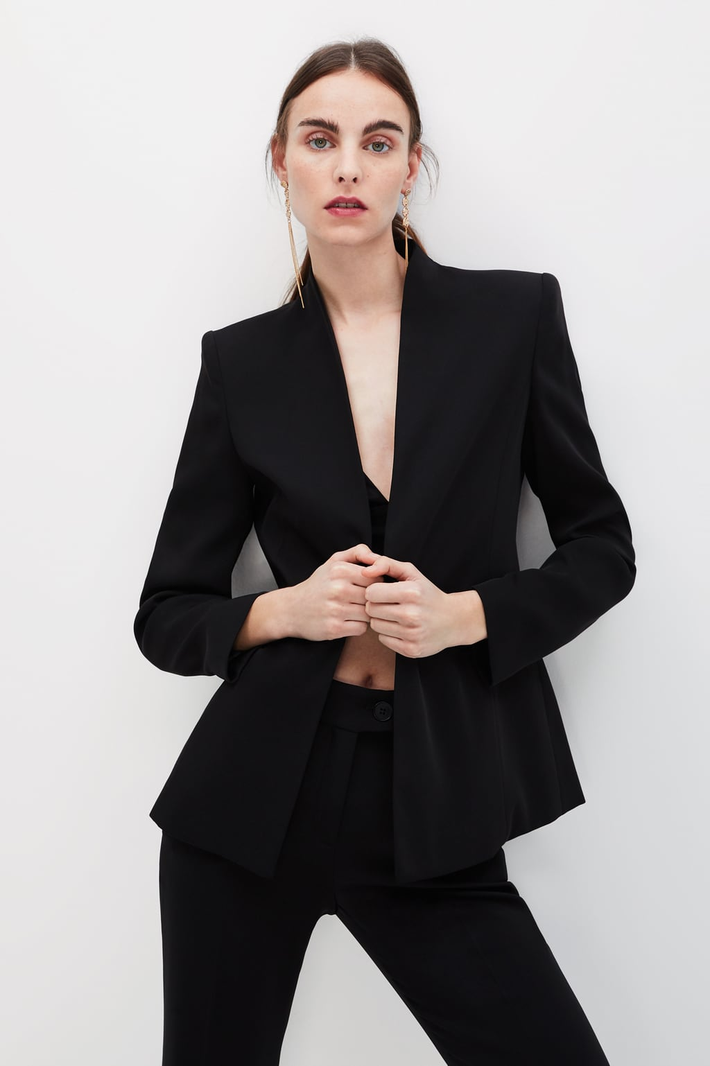 Zara Blazer without Lapel & Wide Waistband Leggings