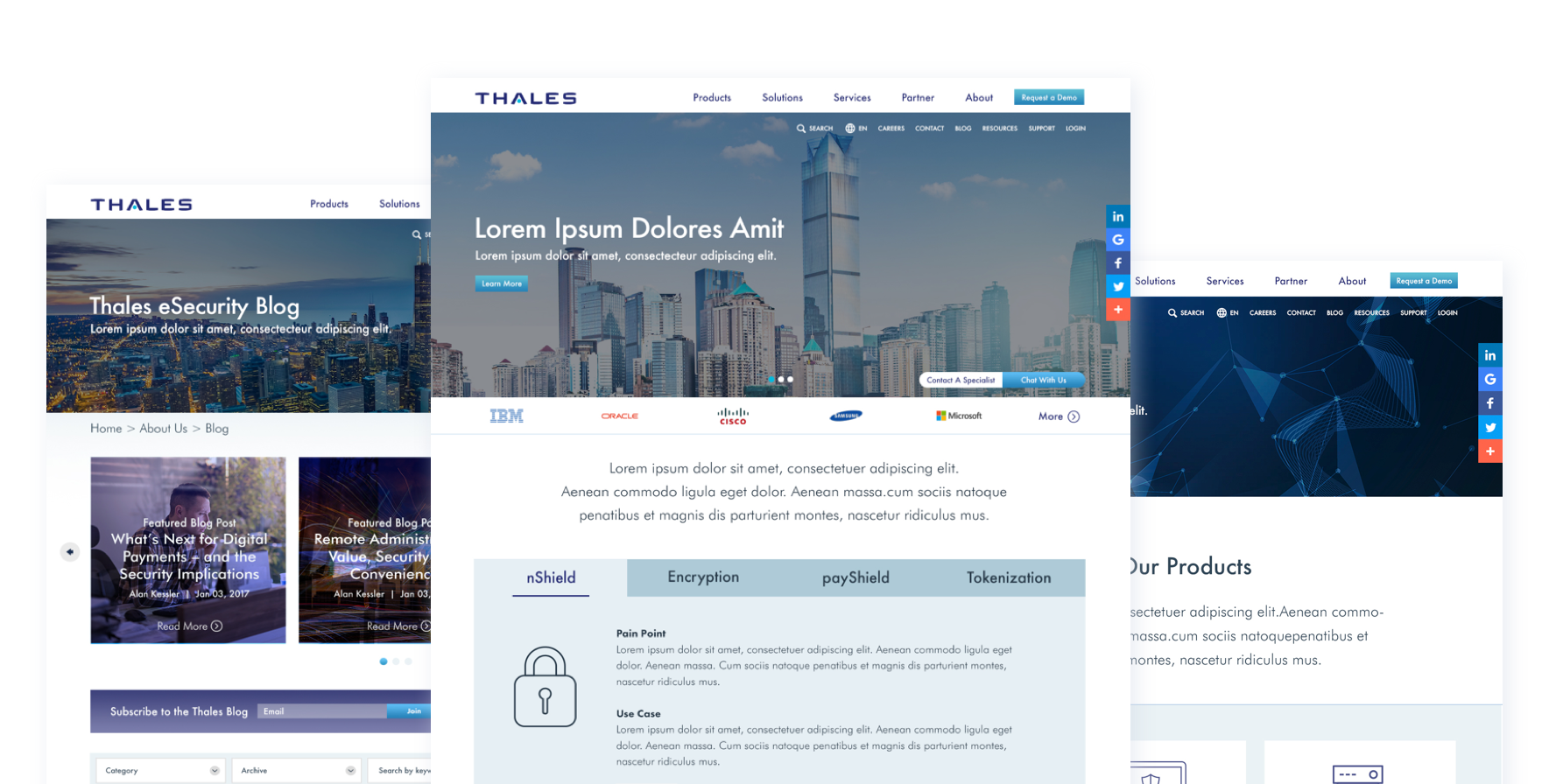 Thales eSecurity Home Page, Blog Page, and Products Page