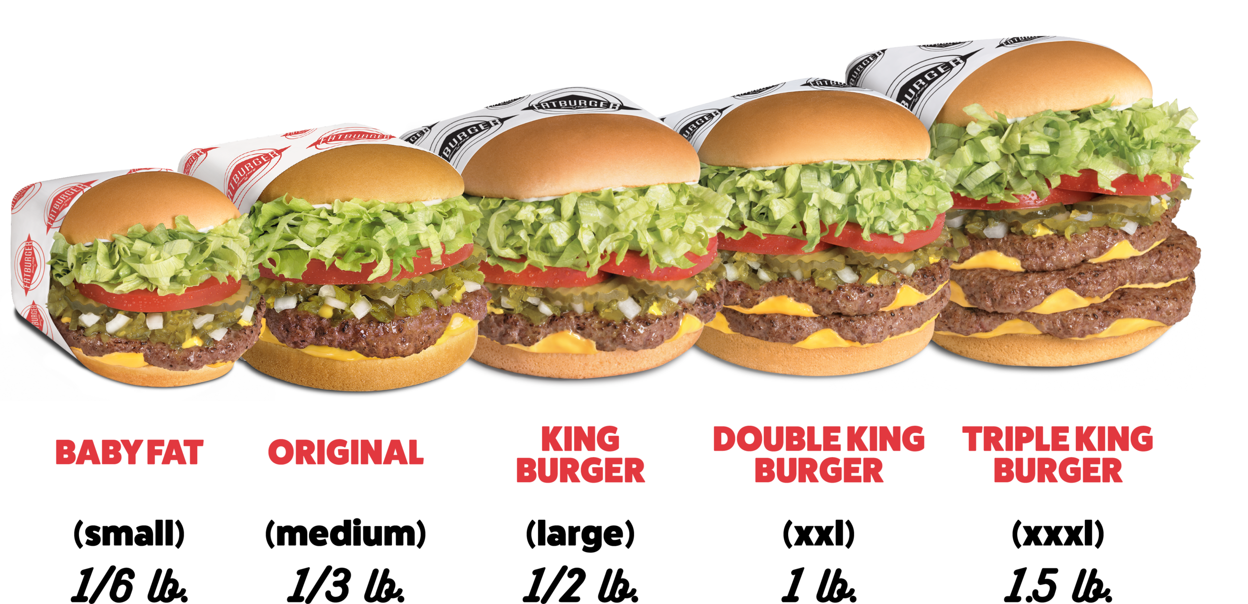 Baby Fat, 1/6 lb, Original 1/3 lb., King Burger 1/2 lb., Double King Burger 1lb, Triple King Burger 1.5 lb.
