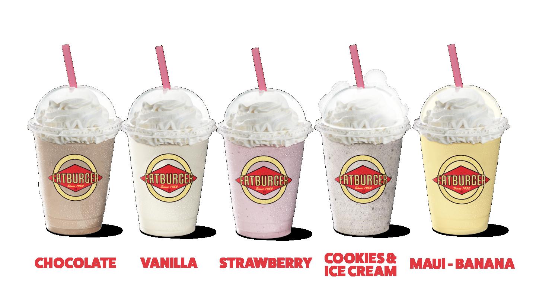 Chocolate Shake, Vanilla Shake, Strawberry Shake, Oreo Cookies & Cream Shake, Maui-Banana Shake